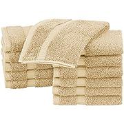 Pinzon Organic Cotton Bathroom Washcloths, Set of 12, Sand