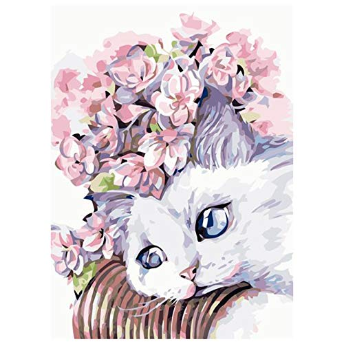 Diamond Painting Kits for Adults, XINGZU Easy DIY Diamond Art Craft forBeginner, Adults'Paint by Numbers for Home Wall Decor (White Cat, 12 x 16 in)