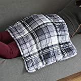 Simple Being Weighted Lap Pad, All in One Heavy Plush Blanket Style for Adults, Ceramic Beads with Warm Breathable 5 Layers of Comfort, Travel Size (20x27 7lbs, Grey)