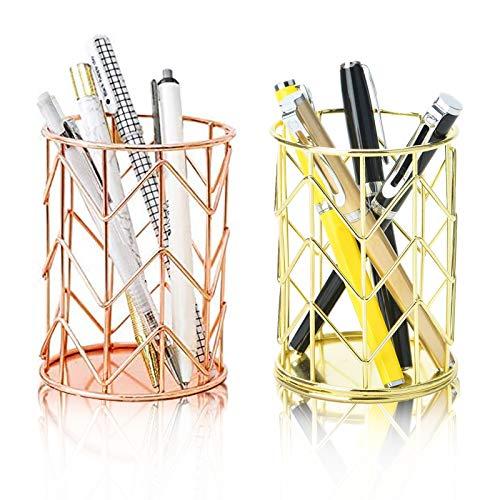 Boyigog 2 Pcs Portalápices de Metal, Portalápices redondo de hierro forjado, Organizador Maquillaje Cepillo, para Hogar Escuela Oficina (Rosa Oro + Oro)