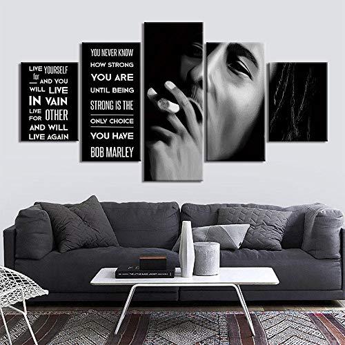 HKDGHTHJ 5 juegos de pinturas de decoración de pared de arte de pared 150x80cm Blanco y negro personaje niño pintura Póster de 5 piezas, carteles artísticos de pared e impresiones, pintura en lienzo,
