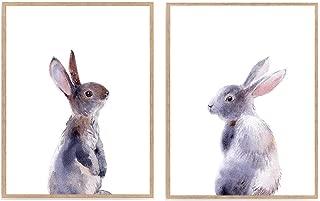 Set of 2 Bunny Rabbit Prints, Watercolor Rabbit Nursery Art Décor, Kid Woodland Animal Poster 8x10 Unframed