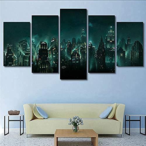 Leinwandbilder Wohnkultur Hd Print 5 Panel Bioshock Rapture Nachtsicht Malerei Modulare Abstrakte Poster Wandkunst_40x60cmx2 40x80cmx2 40x100cmx1 Frame