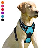 BARKBAY No Pull Dog Harness Front Clip Heavy Duty Reflective Easy Control Handle for Large Dog Walking(Blue,M)