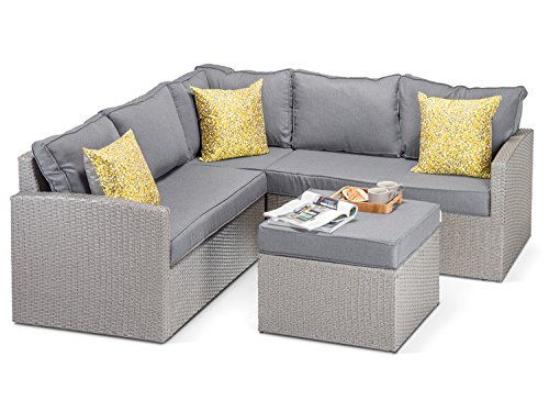 Alexander Francis Calabria Grey Rattan Corner Sofa with Luxurious Thick Grey Cushions, Grey Rattan Footstool and Glass - Beautiful Designer Grey Rattan Garden Furniture from