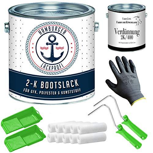 2K Bootslack GLÄNZEND für Holz und Metall Weiß RAL 9010 Weiß Für GFK/Kunststoff/Polyester Yachtlack Bootsfarbe mit Lackier-SET (X300) und Verdünnung (1 L) // Hamburger Lack-Profi (2,5 L)