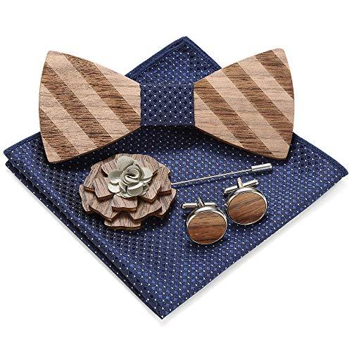 MOZEE Herren Holz Fliege, mit Brosche, Einstecktuch und Manschettenknöpfen Geschenkset (M78-B)