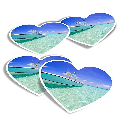 Vinyl Heart Stickers (Set of 4) - Fishing Boat Bahamas Holiday Beach Fun Decals for Laptops,Tablets,Luggage,Scrap Booking,Fridges #8099