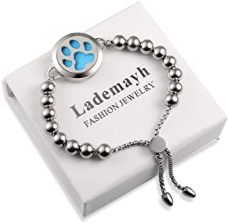 Lademayh Aromatherapy Essential Oil Diffuser Bracelet Beads Jewelry for Women Girls Kids, 25mm Stainless Steel Locket, 12 Felt Pads