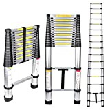 Gimify Telescoping Telescopic Extension Ladder 15.5 FT Aluminum Alloy Extendable Lightweight Ladder Steps Safety for Roofing Business, Household Use, RV Outdoor Work, 330 lbs Capacity