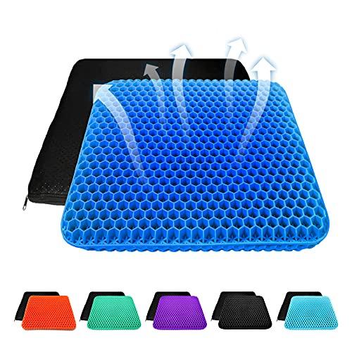 Cojín de asiento de gel grueso con funda antideslizante, transpirable, diseño de panal, absorbe los puntos de presión para coche, silla de oficina, silla de ruedas