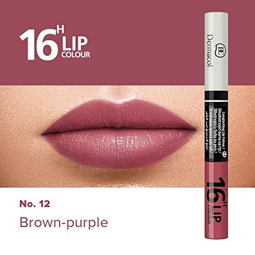 Dermacol 2-in-1 langanhaltende Lippenfarbe & Gloss Kussecht und ohne Lippenstiftflecken - Brillanter Lippenstift mit kräftiger Farbe - Lipstick 16H, Nr. 12 Brown-purple, 7,1 ml