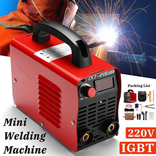 LWYANG 1Set Handmini MMA Elektro-Schweißer 220V 10-200A 4000W Inverter ARC-Schweißgerät mit Schweißhelm Maske Handschuhe Gerätezubehör Werkzeuge