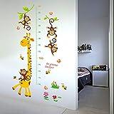 Height Growth Chart Wall Sticker Children Living Baby Room Decoration Giraffe Animals Cartoon Peel Stick Art Wall Decor for Kids Measuring Ruler Height Decals Removable Nursery Bedroom Wallpaper