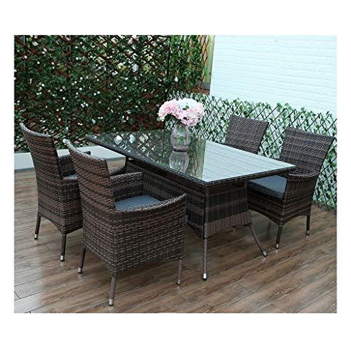 BDBT Rattan Muebles de jardín Conjunto, (4 Piezas) Muebles de terraza Mesa y sillas de jardín Familia Conjunto Césped Muebles de Exterior Mesa de café al Aire Libre Patio Conversación