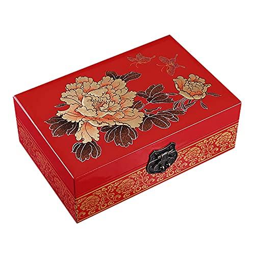 Joyero De Madera Lacado, Organizador De Caja De Joyero con Anillo De Tesoro De Recuerdo De Baratija, Regalo Hecho A Mano con Diseño De Flor Y Espejo (Color : C)