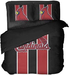 Maspt St. Louis Sports Bedding Set Black and Red Vertical Stripes Baseball Duvet Coverlet for Teens(Queen 3pcs)