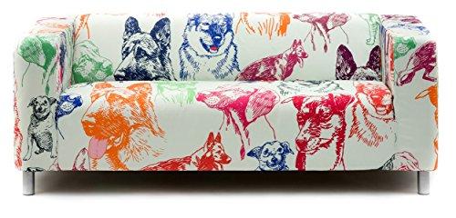 Artefly Klippan Sofabezug Design DOGS mit Kissen Bezug passend für Ikea Klippan Zweisitzer