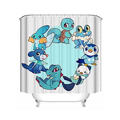SMNVCKJ Schimmel & wasserdicht Duschvorhang 120x200 180x200 180x180 200x240 Textil Pokémon Bunt Pink Blau, Duschvorhang Wasserdicht Dekorieren Sie Ihr Badezimmer (a,120 x 200 cm)