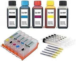 5 hervulbare cartridges PGI-580, CLI-581 + 5 x 100 ml navulinkt voor Pixma TR 7550 8550, TS 705 6150 6151 6240 6241 6242 6...