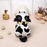 NANNAN Pet Clothes サンゴフリースになったペットの牛4本足の服テディベアの服犬の服厚くなる秋と冬の服 (Size : XS)