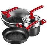 XGLIPQ 3 Raffinati rivestimenti per pentole in ceramica di alta qualità, wok, padelle e pentole per zuppe. Con vaporiera, padella antiaderente, padella inferiore multistrato, no fornello a gas, fiamma