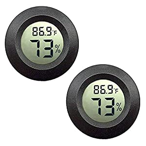 JEDEW 2-Pack Mini Hygrometer Thermometer Digital LCD Monitor Indoor Outdoor Humidity Meter Gauge for Humidifiers Dehumidifiers Greenhouse Basement Babyroom Fahrenheit or Celsius (Black-2 Pack)
