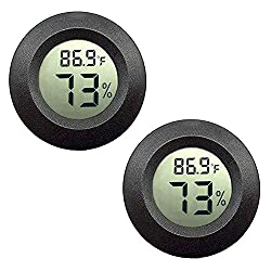 JEDEW 2-Pack Mini Hygrometer Thermometer Digital LCD Monitor Indoor/Outdoor Humidity Meter Gauge Temperature for Humidifiers Dehumidifiers Greenhouse Reptile Plant Humidor Fahrenheit(℉) or Celsius(℃)