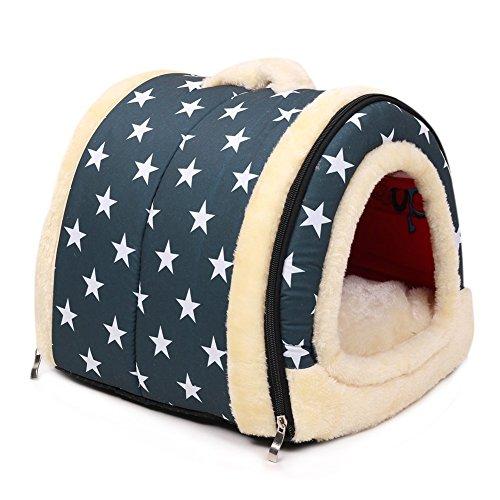 Hundehaus Haustier Zwinger Falten Tragbar Hundebett Katzenbett Zelt Abnehmbares für Hund Katze Kleines Tier Sich ausruhen Schlaf oder Reise Innenraum &Draussen (L, Blau mit sterne muster)