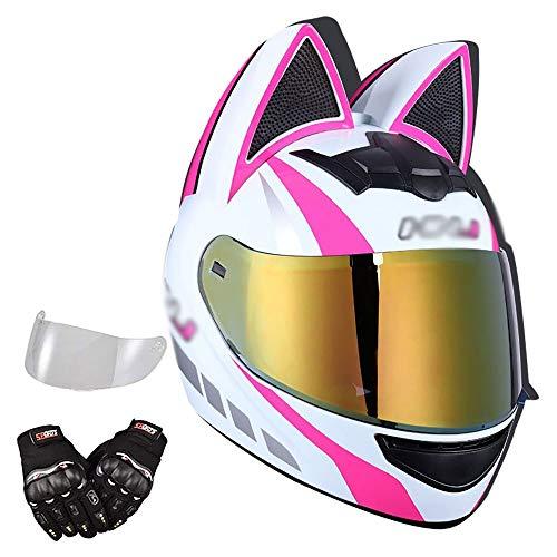 BDTOT Casco de Moto Personalizado con Oreja De Gato,Casco Unisex Negro de Motocicleta para Adultos con Doble Visera Anti-rasguños y Protección Rayos UV, Certificación ECE