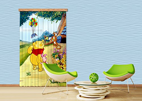 AG Design fCC l/4111 Rideau Voilage pour Chambre d'enfant Motif Winnie l'ourson de Disney
