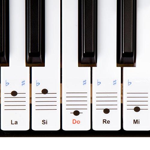 Keysies: adesivi trasparenti staccabili in plastica per tasti di piano e pianola con pratica guida per l'uso.