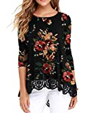 QIXING Women's Tops Floral Printed Tunic Long Sleeve Lace Trim Shirts Blouse FP Brown Black-X-Large