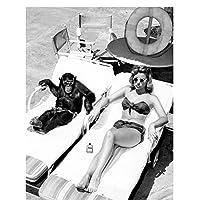 XIANRENGE ポスター 写真ポスター壁アートキャンバス絵画白黒ヨーロッパヴィンテージ風景図プリント寮の家の装飾植物-50x70cmx1フレームなし