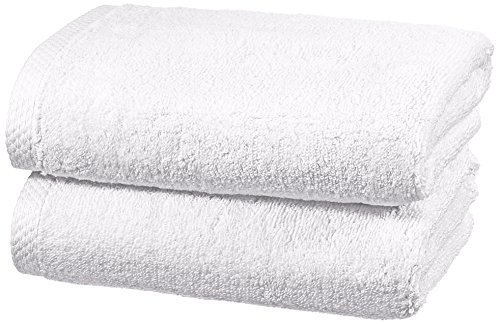 AmazonBasics - Handtuch-Set, schnelltrocknend, 2 Handtücher - Weiß, 100% Baumwolle