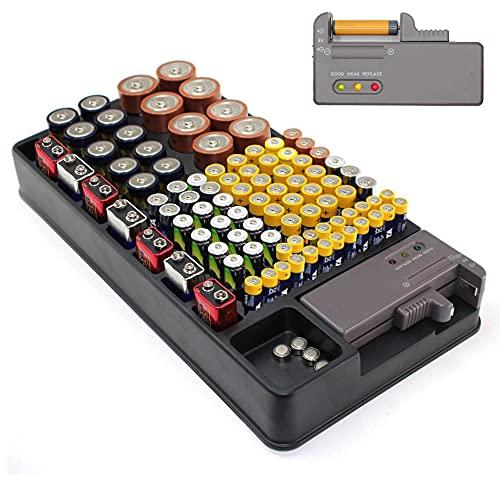 Boîte de Rangement Piles - Capacité 98 Piles AA, AAA, 9V, C, D et Piles Bouton - Accrochable au Mur - Testeur de Piles Intégré - 35 x 17 CM - Noir