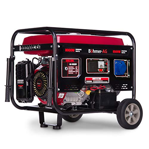 Böhmer-AG 9000W-e Benzin Stromerzeuger Stromgenerator, Stromerzeuger - elektrische Zündung - 10,5 kVA - 17 PS