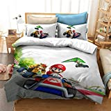 SHUOSHUO Super Mario 3D World Adventure Travel Game Pattern Bedding Set Cute Children's Printed Duvet Cover and King Pillowcase