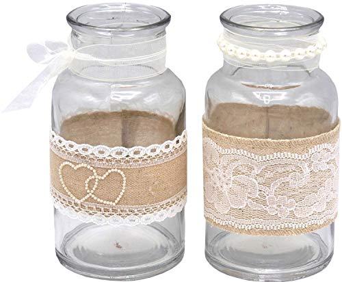 2 Vasen Gläser Spitze Creme Hochzeit Vintage Tischdeko Natur Jute Deko