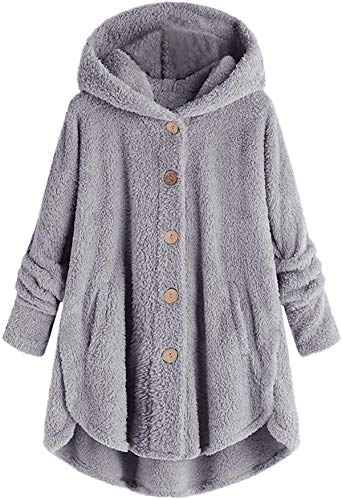 Womens Fleece Button Coat, Plus Size Loose Winter Pockets Fluffy Sweater Hooded Outwear Women Coat Tail Tops Pullover