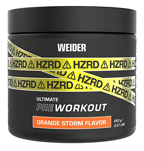 Weider HZRD Pre-Workout Powder, Orange Storm, Energy Booster for Intense Gym Sessions, 20 Servings, 200 g