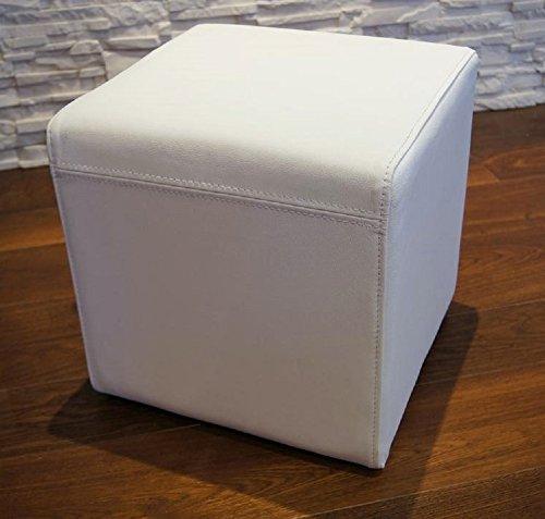 Quattro Meble Weiß Echtleder Hocker 40x40x40cm Sitzhocker Rindsleder Sitzwürfel Fußhocker Polsterhocker Echt Leder Puff