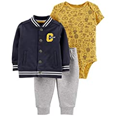 3-Piece Varsity Sports Little Jacket Set Chenille embroidered ''C'' and ''CAPTAIN'' slogan Covered elastic waistband for a comfy fit Jacket: 100% polyester microfleece; Bodysuit: 100% cotton rib; Pants: 100% cotton French terry Machine wash