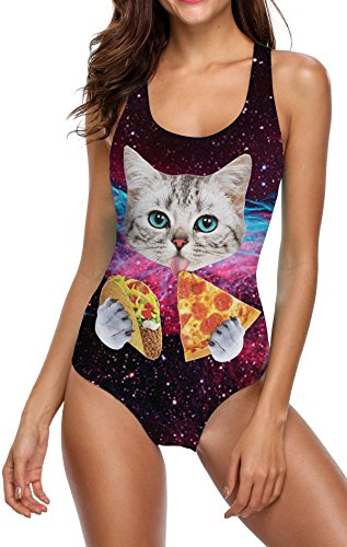 Idgreatim Damen Pizza Cat Einteiler Monokini 3D Gefälschte Behaarte Brust Bikini Print Badeanzug Sommer Badeanzug XL