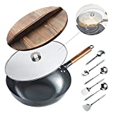 "Best Carbon Steel Fry Pans - Carbon Steel Wok Pan,13"" Stir Fry Pan With Review"