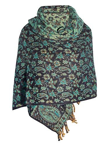 Handgefertigter luxuriöser Schal mit floralem Muster, Schwarz / Grün / Minzgrün