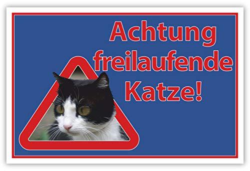 SCHILDER HIMMEL anpassbares Achtung freilaufende Katze Schild DIN A4 29x21cm Kunststoff mit Schrauben, Nr 567 eigener Text/Bild verschiedene Größen/Materialien
