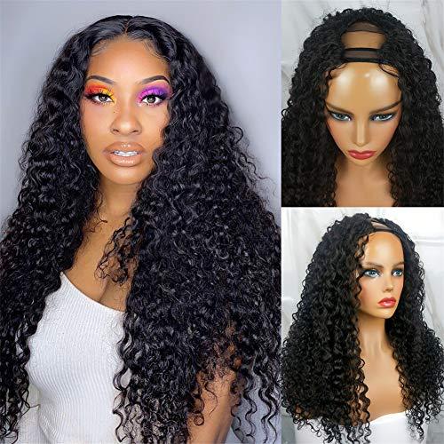 West Kiss Hair Curly Wave Wigs U Part Wigs Human Hair Wigs for Black Women 180% Density Brazilian Deep Curly Remy Human Hair Glueless Full Head Clip in Half Wig U Shape Wig (20 Inch)