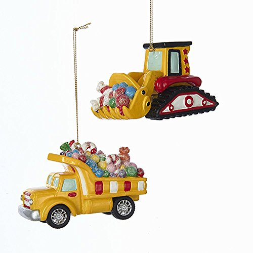 Kurt Adler CANDY FILLED CONSTRUCTION VEHICLE ORNAMENT - 2 ASSORTED: DUMP TRUCK AND BACKHOE