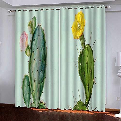 YUNSW Cortinas Perforadas De Impresión Digital 3D Simples, Cortinas Opacas para Sala De Estar, Dormitorio, Jardín Y Cocina, 1 Par (2 Piezas Separadas del Medio)